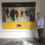 My friend John Abramson stand with my work - 'Ukusaba' at Coming Home exhibition