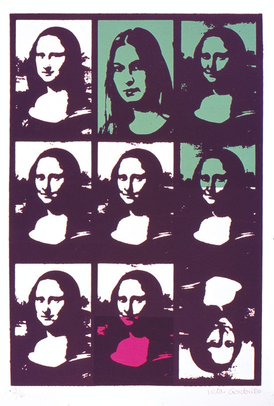Photographic screenprint incorporating image of Mona Lisa