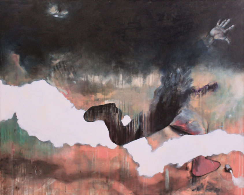 """""""System"""" 1989. Oil on canvas 180 x 225 cm"""