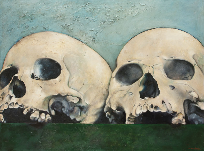 Painting by Victor Gordon - Together in Death, Eternally Alone 2007