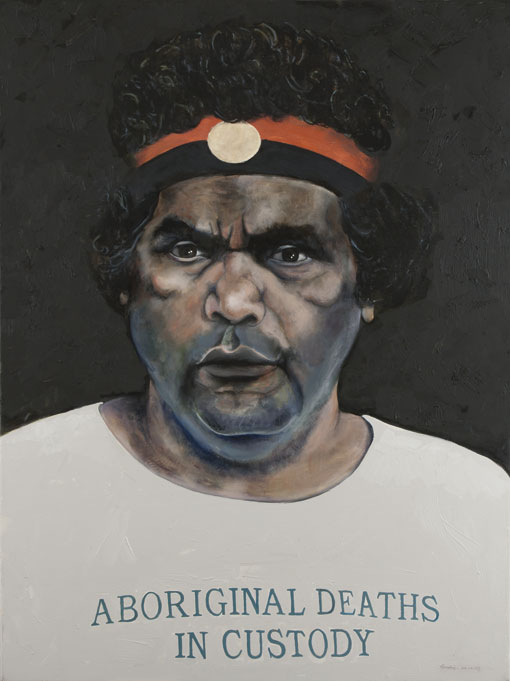 Oil painting on canvas about Aboriginal deaths in custody