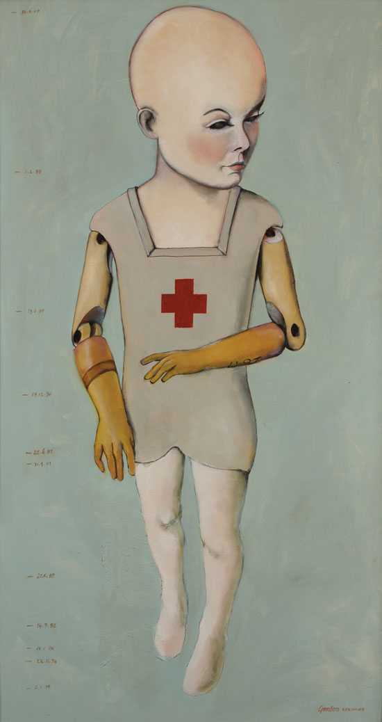 Painting of doll-like figure with prosthetic arms
