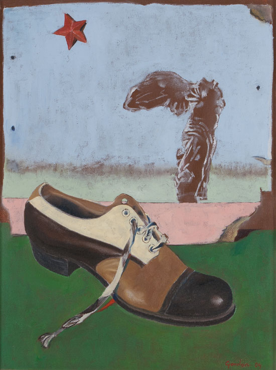 Painting - oil on canvas of a multi coloured leather shoe
