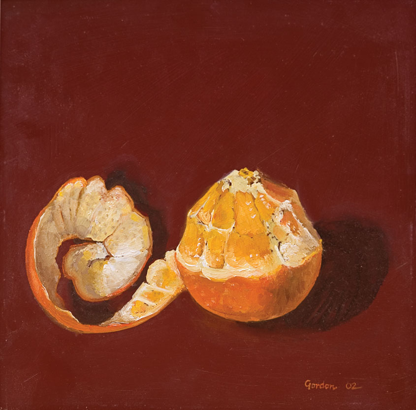 Paining, oil on board of a half peeled orange