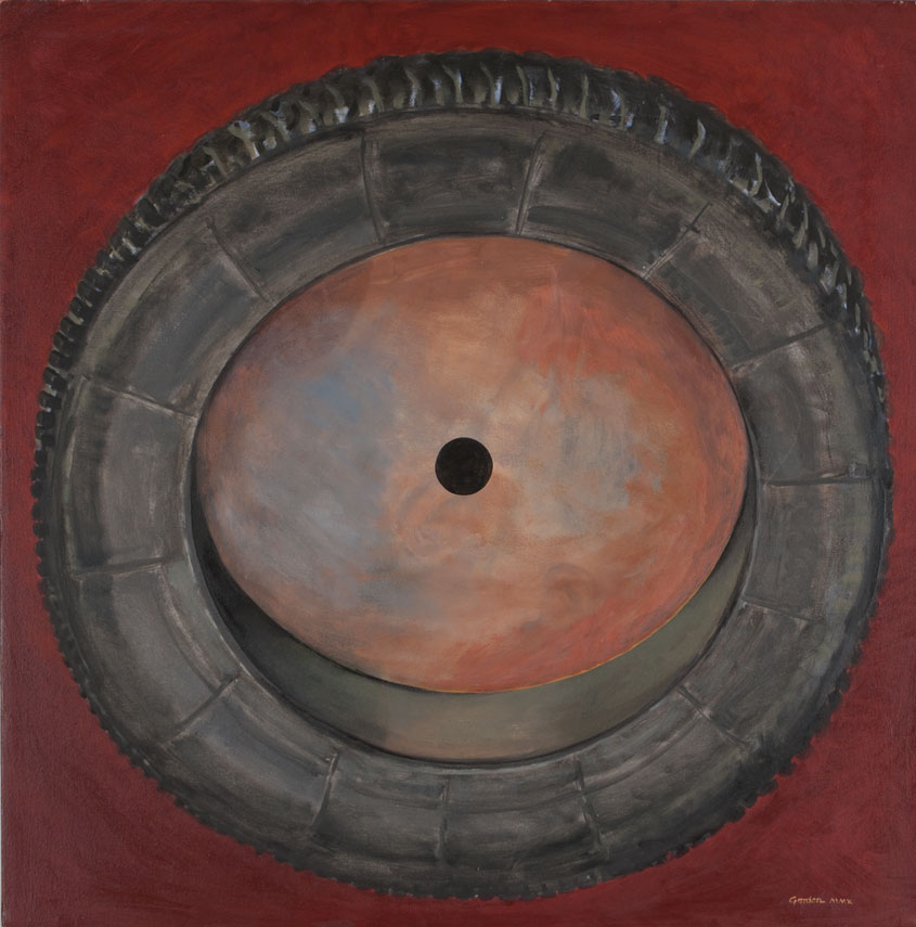 Painting by Victor Gordon of a car tyre