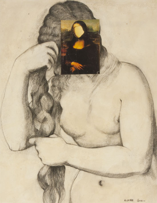 Drawing and collage based on painting by Titian and Da Vinci by Victor Gordon