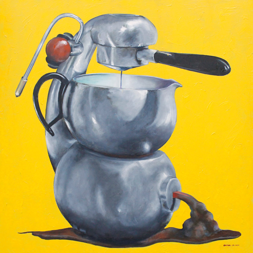 Quirky painting of Atomic Coffee maker
